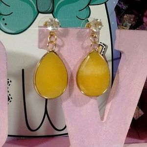 Gold wrapped yellow jade earrings